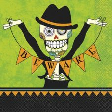 16 Day Of The Dead 'Beware' Paper Party Napkins